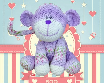Boo The Button Monkey - Crochet Amigurumi Digital Downloadable Pattern