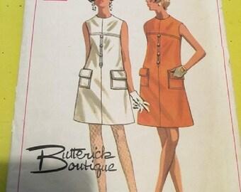 Vintage Butterick Boutique Pattern 1960's  Size 12 Bust 34 Misses one piece dress