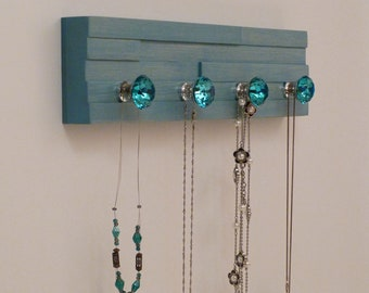 16 inches/4 knobs Jewelry Organizer, Necklace Holder, Bracelet Holder, Turquoise