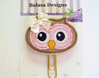 Pink Owl Face Planner Clip, Bookmark, Planner Accessory, Paper Clip