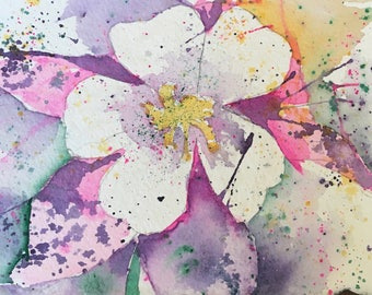 Original Watercolor Painting, Columbine Flower, Colorado Fine Art, Small Office Painting, Gift for Her, cubicle Art