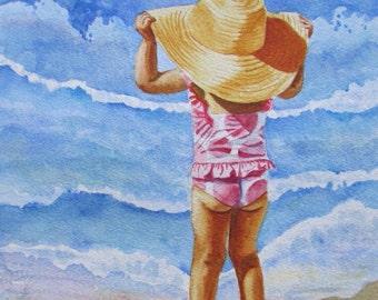 Beach Girl Painting,Beach Girl Print,Watercolor Beach Girl,Polka Dot Art Print, Child Wall Art,Seashore Decor, Nursery Decor Gift, Kids Room