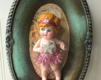 Assemblage doll Mixed media doll Altered Art doll upcycled bisque doll Be A Star  wall hanging one of a kind
