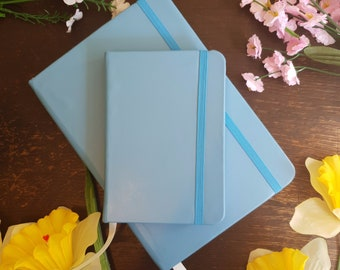 Leather Journal / Personalized Leather Journal / Sky Blue Notebook / Faux Leather Personalized Journal / Personalized sketchbook / Travel
