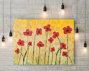 "18"" x 24"" Textured Poppy Painting - Red Flowers - Poppies Painting - Textured Painting - Flower Painting - Impasto Painting"