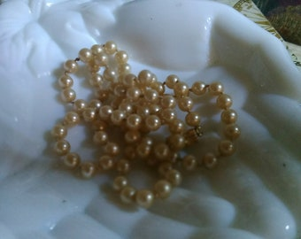 Magic Majorica Hand Knotted 6mm Round Champagne Colored Opera Length Pearls Any Occasion Everrything Goes Well with Pearls