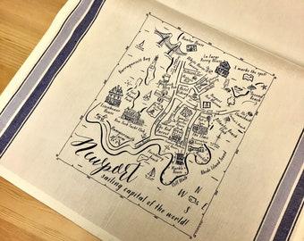 Newport (RI) Blue Map Kitchen Tea Towel