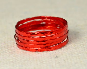 Super Thin Red Silver Stackable Ring(s), Red Ring, Stack Rings, Red Stacking Rings, Red Jewelry, Thin Red Ring, Red, band