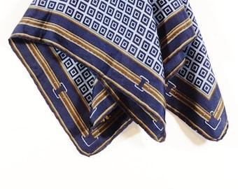 Vintage Ashear Silk Scarf, 1970s Blue Silk Scarf - Geometric print scarf