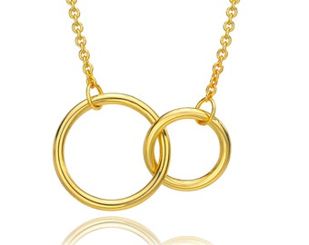 Interlocking Circle Necklace Gold. Double Circle Necklace. Circles Necklace