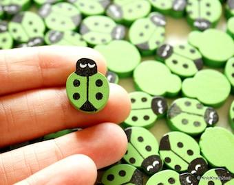Green Ladybug Wood Beads x 10