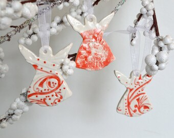 Ceramic Angel Ornaments, Imprinted Red on White, Set of Three 6500