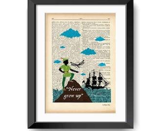 Peter Pan Never grow up dictionary print-Peter quote print-Peter book art-Nursery print-peter pan wall art-dorm print-NATURA PICTA-DP144