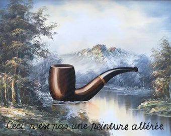 The Treachery of Image Compression - Original Oil on Thrift Painting by Dave Pollot Magritte Pipe Pop Culture Statement Art