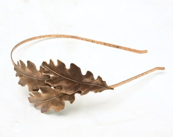 Oak leaf headband bridal antique copper finish nature autumn wedding hair leaves head piece
