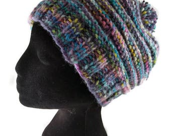 Knitted hat - slouchy beanie - hat with pom pom - hand dyed yarn - textured knit - womens hat