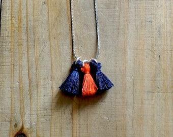 Necklace PomPoms Navy Blue and orange