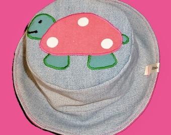 Tortoise Sun hat,  beach Sun hat, Tortoise hat, denim hat, Animal Sun hat, Wildlife sun hat, festival hat, Bucket hat, sun hat
