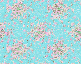Turquoise & Pink Floral Fabric, Riley Blake Ivy Mae C6122 Aqua, Spring, Summer Quilt Fabric, Girls Easter Dress Fabric, Cotton