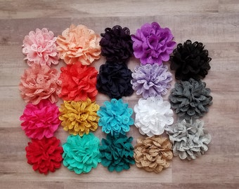 "4"" Eyelet Flower, large flower puff, fabric flower, Eyelet flower, DIY supplies, Headband flower, Flower Hair Clip, hollow fabric flower"
