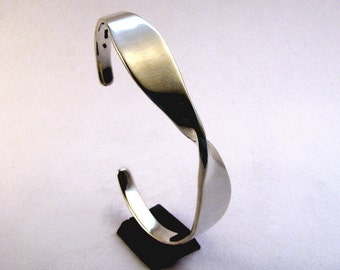 Sterling Cuff Bracelet, Tapered Twist