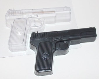 Gun plastic mold, handgun mold, chocolate plastic mold, gun silicone mold, pistol mold, bullet mold, gift for men, boy plastic mold