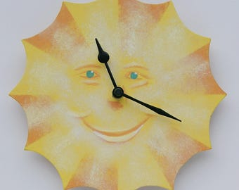 Sunface Clock. Happy Sun. Sunshine. Original Acrylic. Hand Made. Hand painted. Cornish Art.
