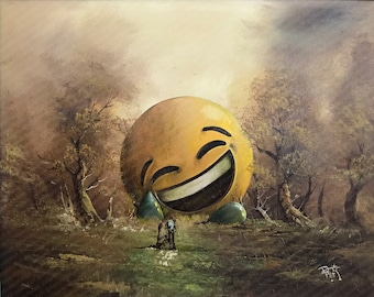 Face with Tears of Joy Emoji Parody Painting Landscape - Print Poster Canvas - Funny Pop Culture Artwork, Cell Phone Popular Emoji Painting