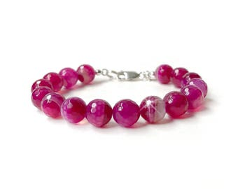Bracelet - Pink Banded Agate with Sterling Silver Lobster Clasp - Fuchsia Pink Gemstone Bracelet - 10mm Large Round Faceted Beads - 925