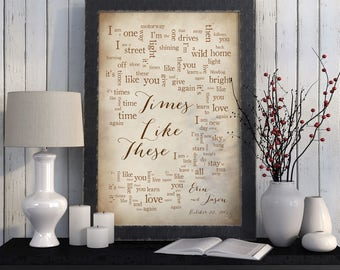 Wedding Song Lyric Art: Times Like These by Foo Fighters - First Dance Song - Wedding Dance Lyrics - Anniversary Gift - Made to Order