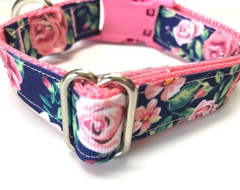 Blue, Green, and Pink Flowers, Floral Dog Collar In Small, Medium, Large, Extra Large