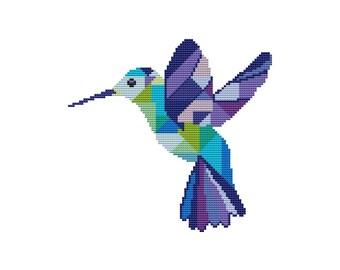PDF cross stitch pattern, modern cross stitch Hummingbird, colibri pattern, geometric bird cross stitch pattern, counted cross stitch