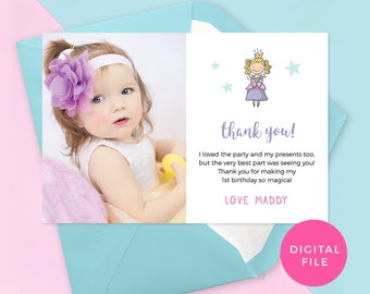 Princess thank you cards photo PRINTABLE fairytale thankyou cards, Kids party thank you cards, Princess party favors thank you card digital