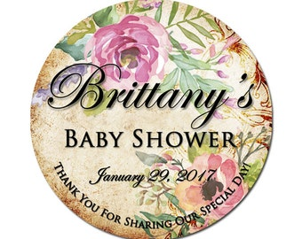 Custom Baby Shower Labels Personalized Watercolor Roses Round Glossy Designer Stickers - Vintage Floral Bouquet - Pretty Flowers
