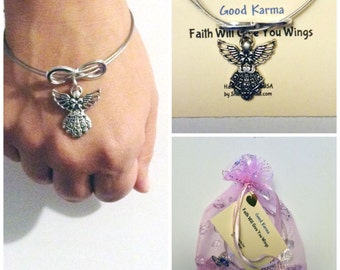 Good Karma Bracelet Double Wire Silver Bangle With Angel and Quote -  Faith Will Give You Wings GKJ10