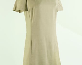 1960s Cream Silk Mod Shift Dress