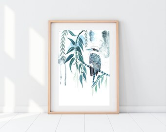 Australia Kookaburra Wall Art Print Illustration botanical print bird native plants watercolour print nature lover gift