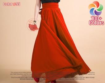 Orange Maxi Skirt - Tomato Chiffon Maxi Skirt with Ruched Waist Yoke and Layered Skirt - Long Flowy Chiffon Skirt - Full Length Skirt SK53