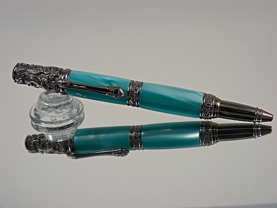 Handcrafted Victorian Ink Pen in Gunmetal and Turquoise Pearl Acrylic
