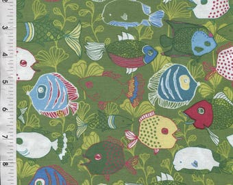 "Blend Fabrics ""Motokai"" Lime Green Fish Fabric"