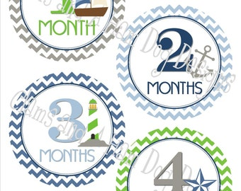 Monthly Milestone Stickers- Boys monthly bodysuit stickers- Nautical Baby month stickers- Monthly baby stickers- Baby shower green- BOY162
