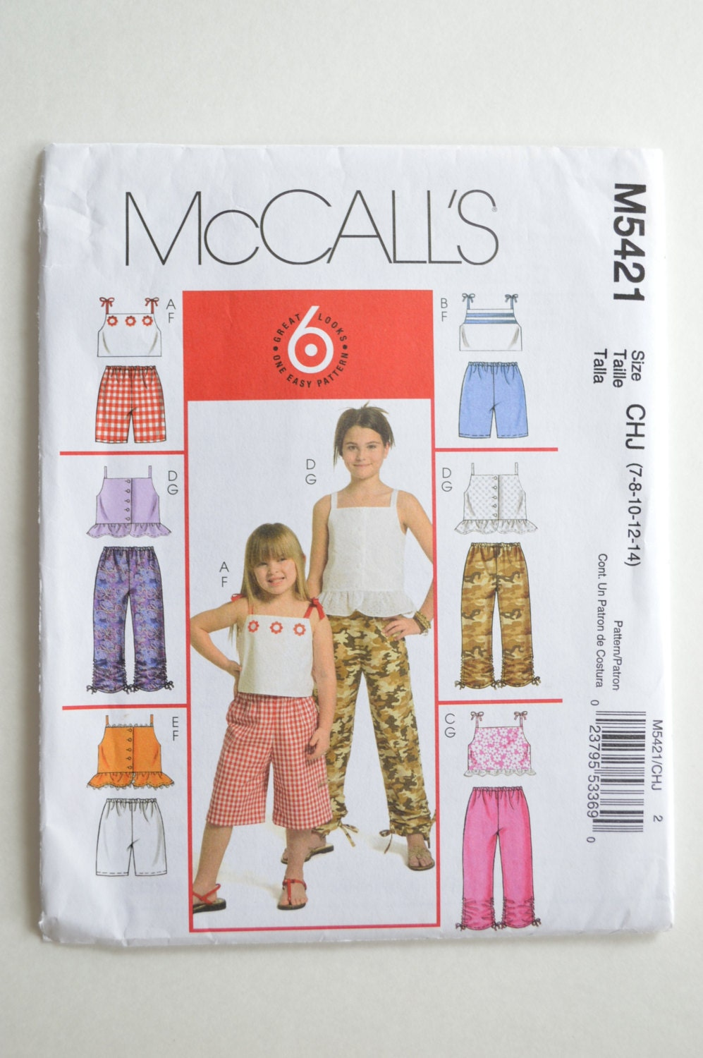 b8f5a945adb 2000s UNCUT McCall s 6 Looks In One Pattern M5421 Children s Girls Sun  Tops