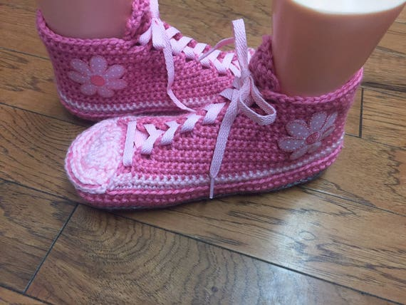Sneaker Womens pink sneakers Listing 8 189 Crocheted slippers Shoe Tennis house slippers Slippers crocheted 10 daisy flower slippers shoes PFFE64p