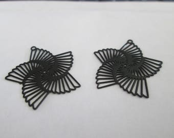 Black spiral flower metal 22 mm 10 prints