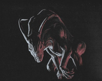 "Alien: Mixed Medium, 12"" x 9"",  Art by Joel Kratter"