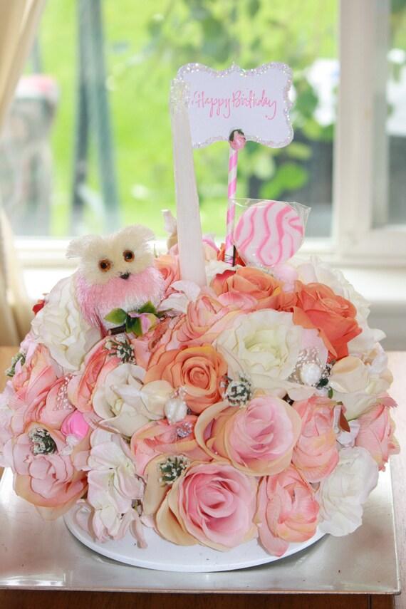 Floral Arrangement Birthday Cake Celebration Candy Bouquet