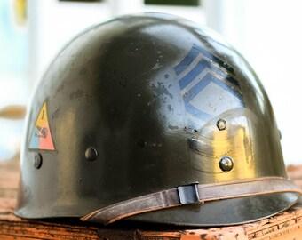 1950's Korean War US Master SERGEANT Army Helmet / Military / United States / America / Militaria / War Memorabilia / Signed Helmet