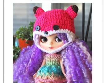 Blythe Fox Hat Crochet Pattern, Fox Blythe Doll Hat Pattern, Blythe Doll Fox Hat Pattern, Fox Blythe Hat Crochet Pattern