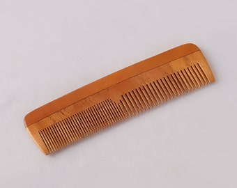 """Handcrafted Neem Wood Comb - Anti Dandruff, Non-Static and Eco-friendly- Great for Scalp and Hair health -7"""" Coarse-Fine Combo toothed"""