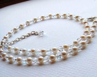Alicia Necklace Featuring Clear Swarovski Crystals and Natural Ivory Pearls, Sterling Clasp